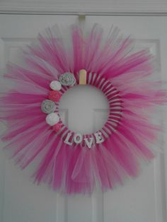 Check out this item in my Etsy shop https://www.etsy.com/listing/176842527/beautiful-valentines-day-tulle-wreath