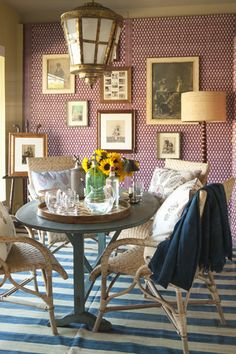 gallery wall, striped rug, kitchen styling, purple grasscloth, eclectic style, lantern
