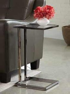 Glass top and black nickel finish metal legs snack chair side end table