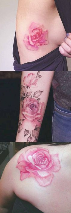 Watercolor Vintage Rose Flower Tattoo Ideas at MyBodiArt.com - Arm Sleeve Traditional Pink Floral Rib Shoulder Tatt