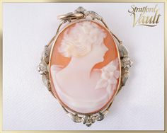 GIA Art Nouveau Oval Cameo Pendant by StratfordVault Cameo Pendant, Vintage Jewelry, Unique Jewelry, Art Nouveau, Hand Carved, Shells, Coin Purse, Carving, Jewels