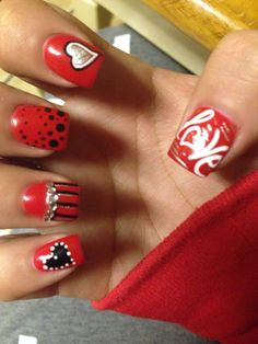 Valentines day nails  Acrylic nails  Red and black nails Nail designs