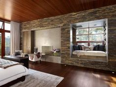 Bedroom with granite wall rectangular mosaic. www.palladiostone.co.za