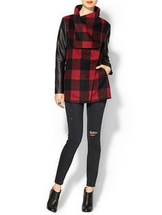 Hive & Honey Plaid Vegan Leather Sleeve Coat/..Love!