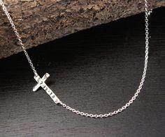 Sideways Cross Necklace Asymmetrical Modern Cross by RoxysJewelry, $49.00