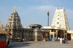 The Bhadrachalam Seetarama Swamy temple, on the banks of the Godavari, notice the Chakra fixed on the Gopuram.
