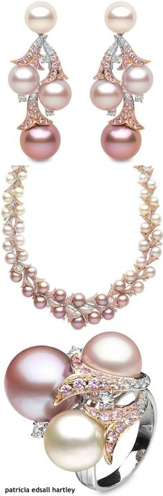 .Multi colored pearls and diamond set