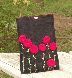Felted merino wool sweater case for a kindle fire.