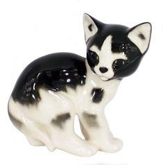 Cat Kitty Black and White Spotted Lomonosov Porcelain Figurine
