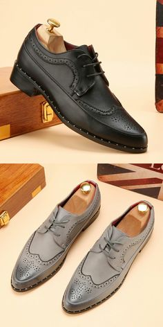 Men Formal Dress Brogue Luxury Brand Pointed Toe Leather Oxfords Business  Studded Casual Wingtip Shoes Carved