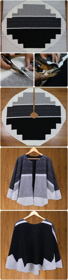 Handmade gray pure wool cape
