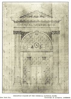 Design for the facade of the Chemical National Bank, New York City Revit Architecture, Classical Architecture, Historical Architecture, Architecture Details, Autocad Civil, Gateway Arch, 3d Max, Beautiful Drawings, Watercolor And Ink