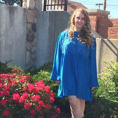 Royal Blue Tunic Dress Royal Blue Lace Tunic Dress with Keyhole Back Dresses Midi