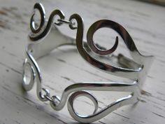 Fork tine bracelet - twisted fork tines - silver plated vintage fork - - Whispering Metalworks