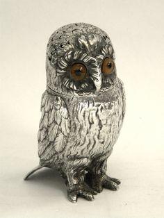 RARE VICTORIAN SILVER OWL SHAPE SUGAR CASTER / SHAKER LONDON 1850 John Bull Antiques Antique Silver Dealer www.antique-silver.co.uk London, UK
