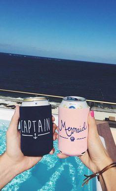 Captain and mermaid koozies. Honeymoon, marketing or wedding koozies Summer Of Love, Summer Fun, Funny Summer, Summer Months, Summer Drinks, Maya Photo, Photos Originales, Photo Couple, Jolie Photo