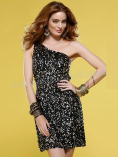 One-Shoulder Short Sheath Style Black Tone Sequined Special Cocktail Gowns