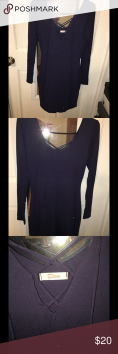 "Long Sleeve Dress 34"" from shoulder to hem. Form fitting dress. NWOT.  Purplish blue color Dresses Mini"