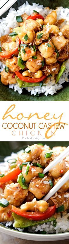 Honey Coconut Cashew Chicken Stir Fry - in your mouth in 35 minutes with most incredible coconut infused sweet and tangy sauce all topped with toasted coconut and cashews!