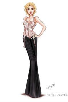 Madonna por Mercedes Galán Vogue Madonna, Lady Madonna, Madonna Art, Jean Paul Gaultier, Madonna Costume, Costume Design Sketch, Celebrity Caricatures, Renaissance Dresses, Fashion Design Sketches