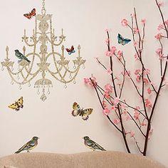 $14 Rhinestones, Birds & Butterflies Chandelier Vinyl Wall Decal