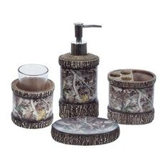 WYF078277446632 Features: -Oak toothbrush holder with 3 toothbrush slots and accessory holder. - #Camo collection. -Material: Resin. Product Type: - #Bathroom acces...