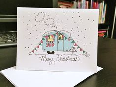 Set of 6 - Cute Holiday Camper / Travel Trailer - Blank note card and envelope - Merry Christmas Watercolor Christmas Cards, Christmas Drawing, Christmas Greeting Cards, Christmas Greetings, Watercolor Cards, Christmas Art, Handmade Christmas, Holiday Cards, Homemade Christmas Cards