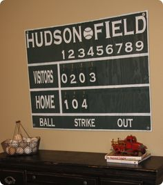 vintage baseball scoreboard decor