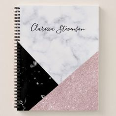 Elegant rose gold glitter white black marble notebook is part of School Organization Notebooks - Modern geometric design featuring faux rose gold glitter, white and black marble Notebook Cover Design, Notebook Covers, Cute Notebooks For School, Cute Spiral Notebooks, Notebook Organization, School Organization, Organizing Ideas, Cool School Supplies, Office Supplies