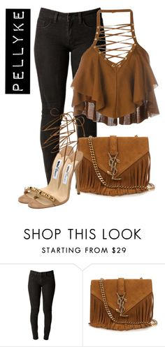 """""""x"""" by pellyke ❤ liked on Polyvore featuring Yves Saint Laurent, Jimmy Choo and Balmain"""