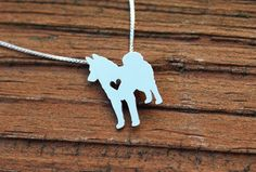 Norwegian Elkhound necklace sterling silver by JustPlainSimple