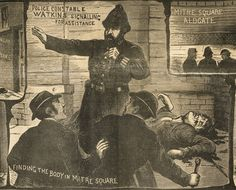 an 1888 illustration documenting one of the 'Jack the Ripper' murders of London