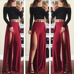 Sexy Open Fork Solid Two-Piece Dress