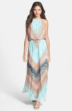 coral and blue - what a perfect combo for this maxi dress