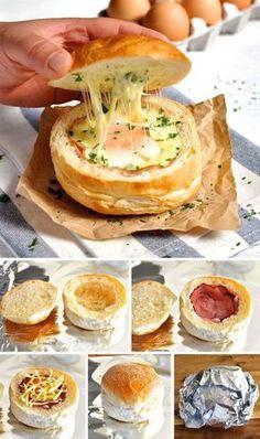 ♥ 04. Pão Gourtmet ♥ – corte a tampa do pão – retire o miolo – acrescente recheio de sua preferência – sugestão: presunto parma e mix de queijos – embrulhe no papel alumínio – leve ao forno