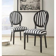 Linon Black And White Stripe Chair 19 Inch Seat Height Fully Assembled