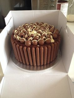 Chocolate Madeira cake layered with vanilla buttercream, covered with chocolate buttercream, Cadbury's chocolate fingers, maltesers and Green & Black's white chocolate.