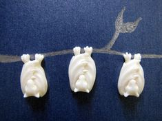 Little Bali Bat Carved Bone Flatbacked Bead by Indounik on Etsy, $8.00