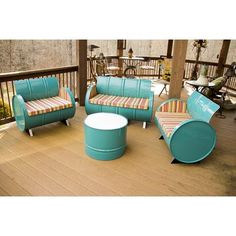 Drum Works Furniture Outer Banks 4 Piece Seating Group with Cushions Backyard Furniture, Furniture Projects, Home Projects, Outdoor Furniture Sets, Lawn Furniture, Bedroom Furniture, Furniture Dolly, Furniture Movers, Living Furniture