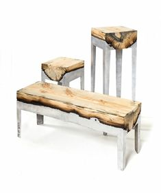 echtholzmöbel metall naturholz
