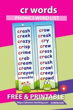 cr Phonics Cards - FREE Phonics Activity - Printable Word List - A great bookmark which makes for ideal phonics practice for older kids. Will make your phonics revision effective Phonics Blends, Phonics Rules, Phonics Lessons, Phonics Words, Jolly Phonics, Phonics Reading, Teaching Phonics, Phonics Activities, Reading Comprehension
