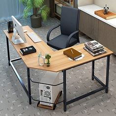 Tribesigns Modern L-Shaped Desk Corner Computer Desk PC Latop Study Table Workstation Home Office Wood & Metal (Teak) Modern L Shaped Desk, L Shaped Office Desk, Modern Desk, Home Desk, Home Office Desks, Home Office Furniture, Office Chairs, Office Table Design, Office Workstations
