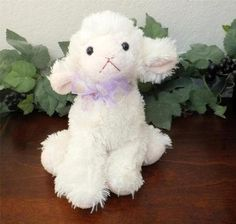 Applause Russ Easter Lamb Shaggy Ivory White Chenille Floppy Stuffed Plush