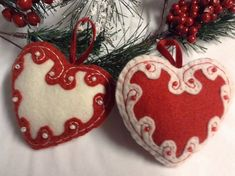 Embroidered and Beaded Felt Heart Ornaments by LookHappy on Etsy, $9.50
