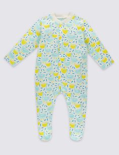 3 Pack Pure Cotton Unisex Assorted Sleepsuits | M&S