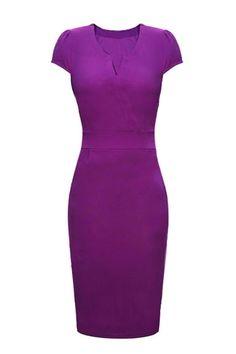 Purple V-neck Short Sleeves Bodycon Dress
