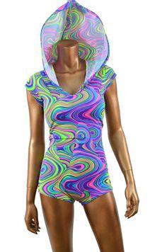 Glow Worm Print UV Glow Bodysuit Romper Hoodie by CoquetryClothing