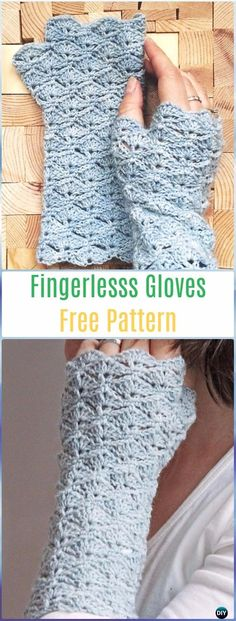 Crochet Box Stitch Fingerlesss Gloves Free Pattern - Crochet Arm Warmer Free Patterns