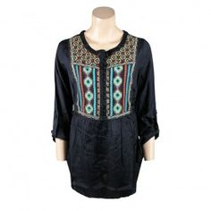 """Huyana"" Tunic by Double D Ranch features bright turquoise, red and yellow stitching in a fun, southwestern pattern."