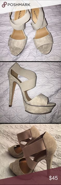 Michael Antonio heels 5 inch heels, never worn. I usually wear 3 inch heels so 5 was bit high for me. Overall it's comfortable. Michael Antonio Shoes